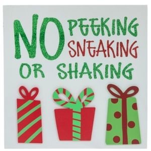 No Peeking Sneaking Or Shaking Wood Wall Decor NWT